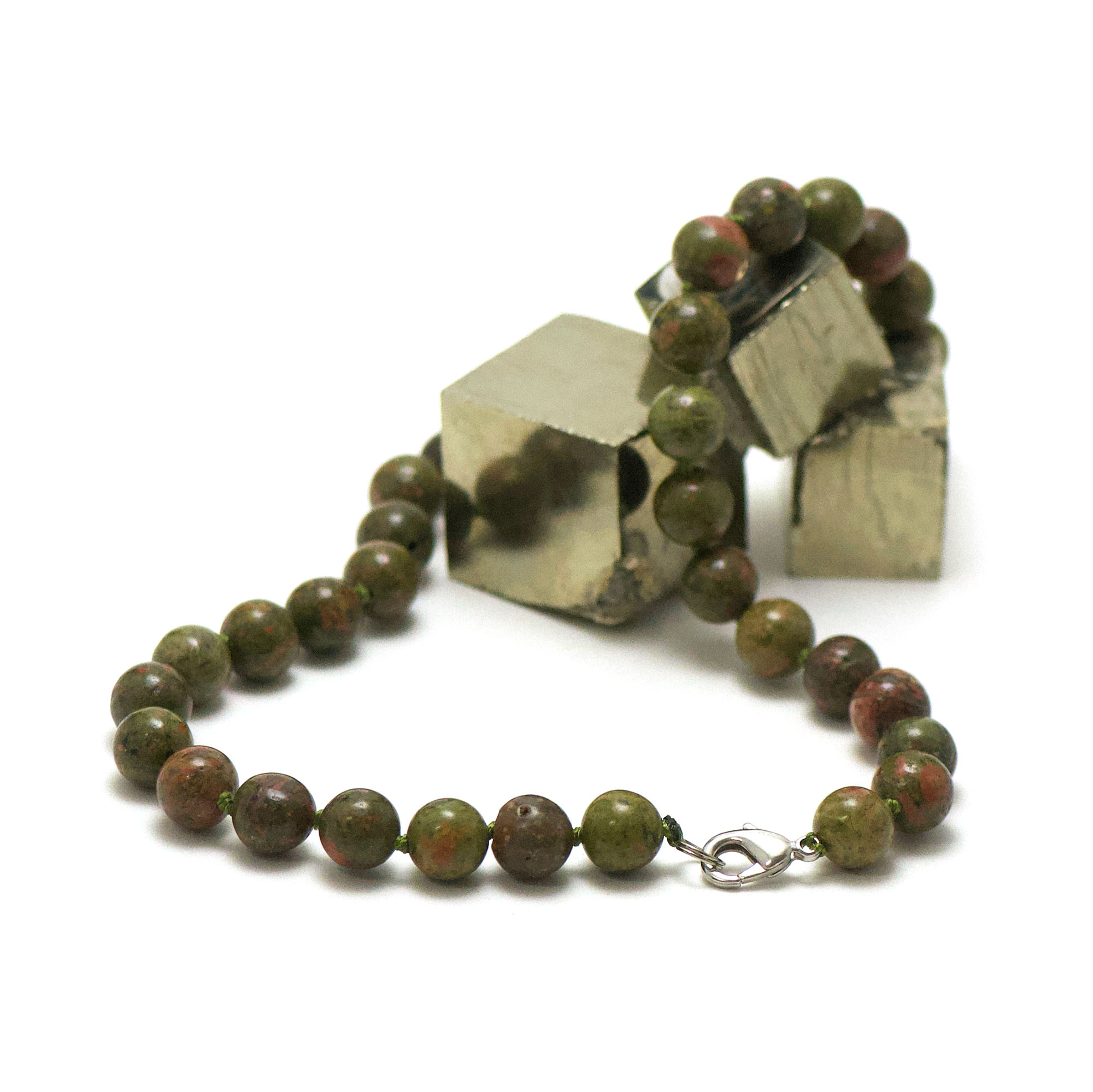 collier unakite, perle ronde 10 mm