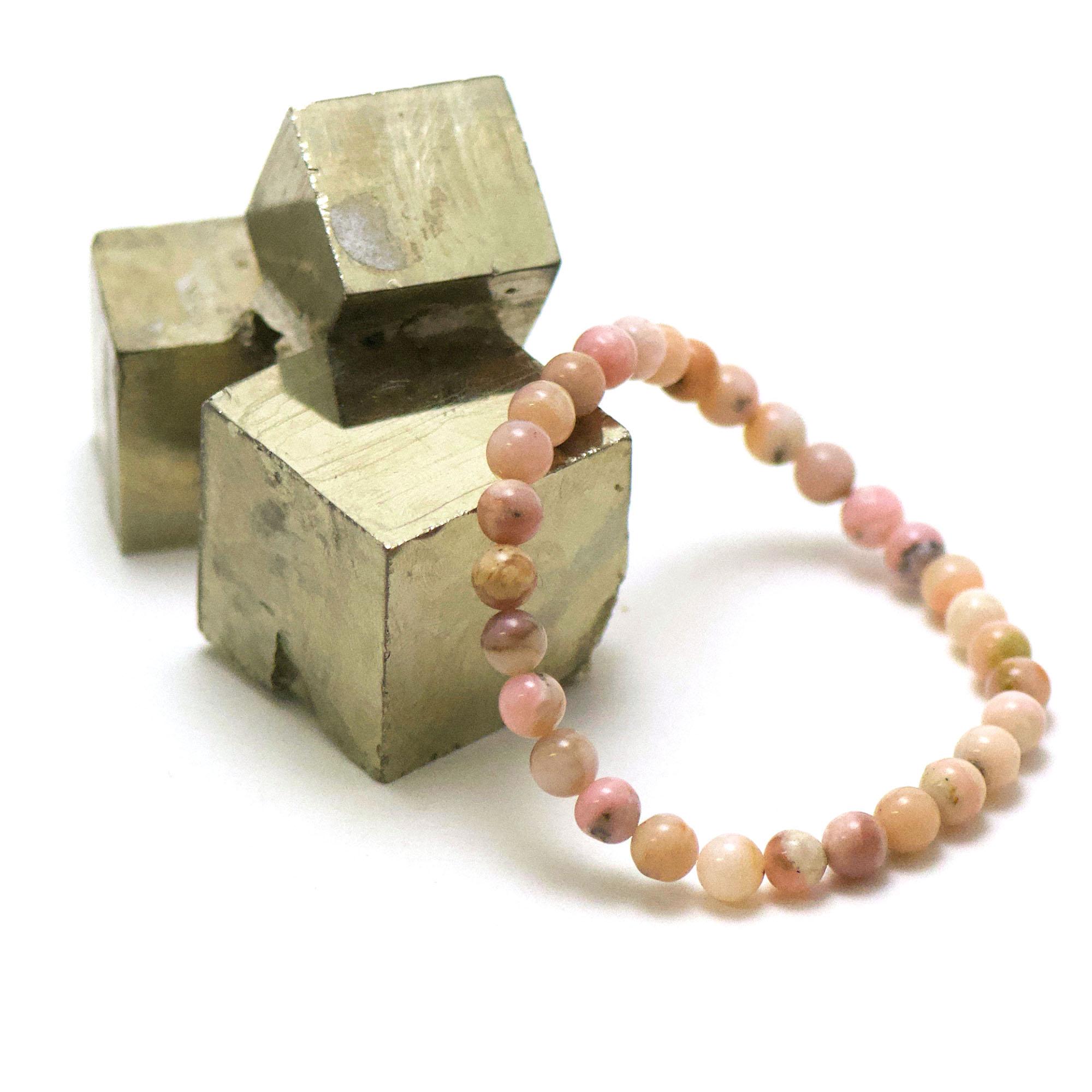bracelet opale rose des Andes ronde 6 mm