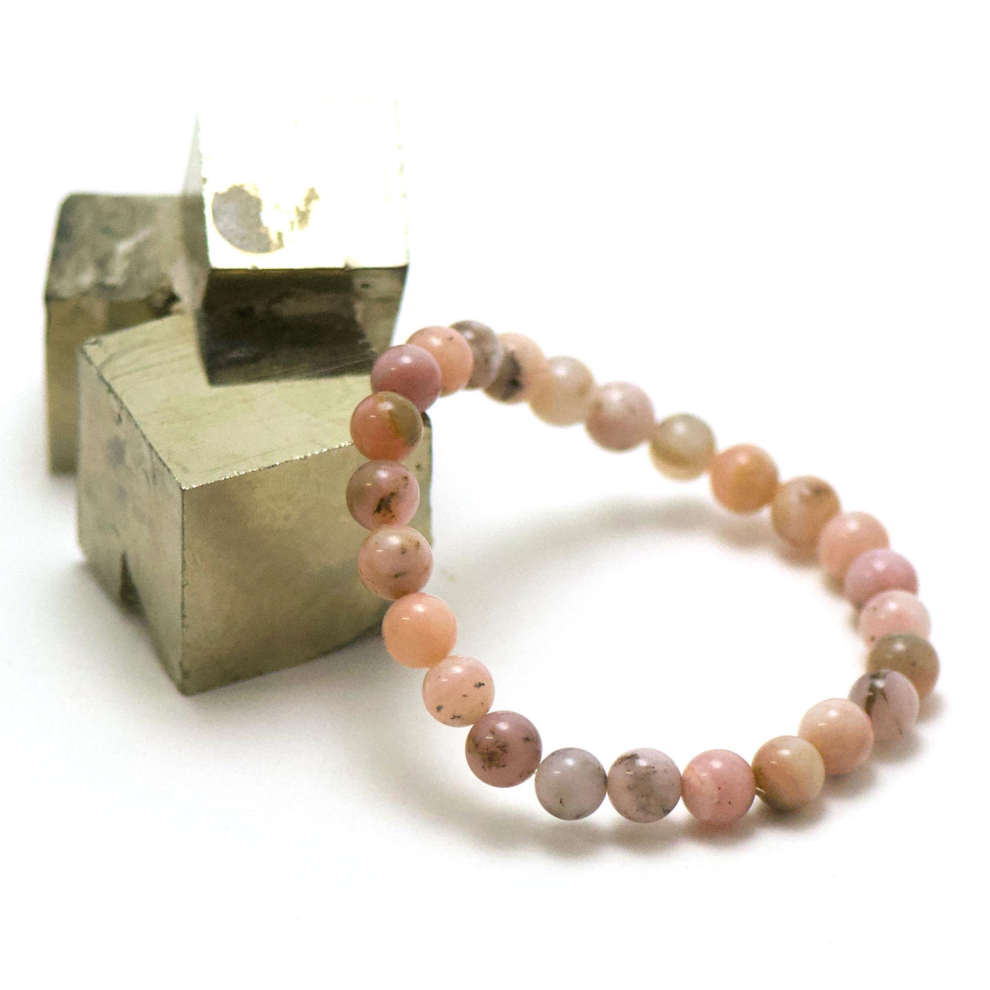 bracelet opale rose des Andes ronde 8 mm
