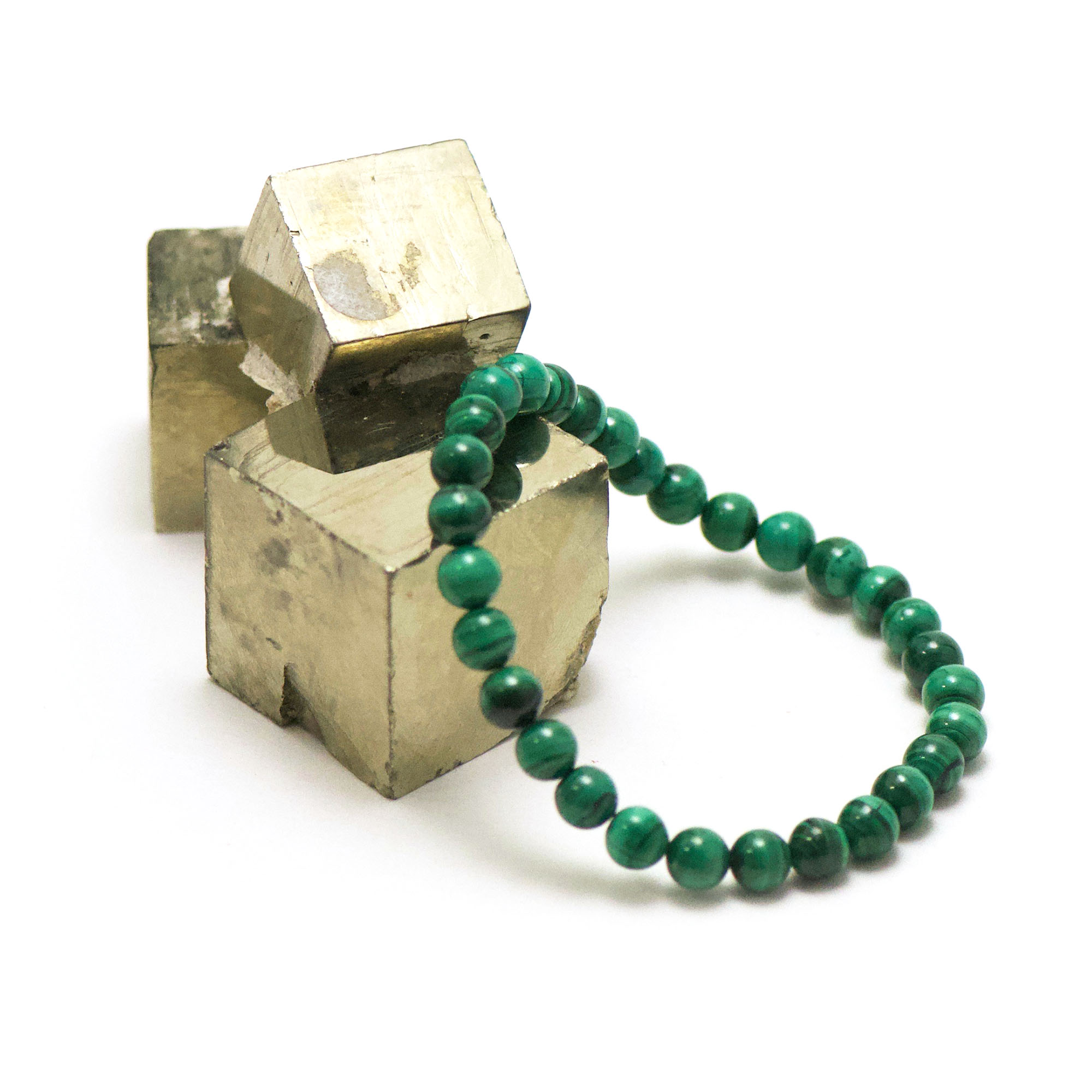 bracelet malachite  perle ronde 6 mm