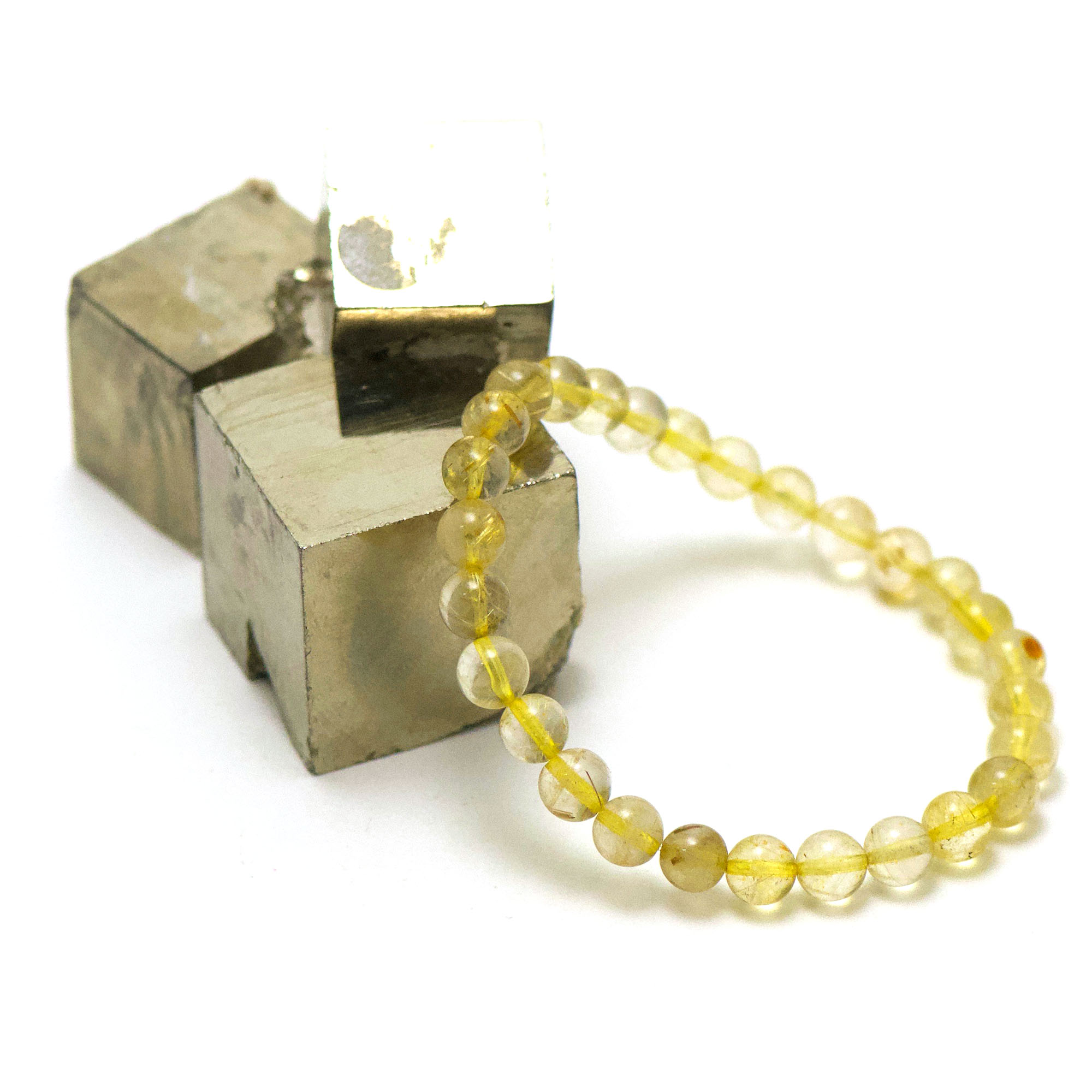 bracelet quartz rutile ronde 6 mm