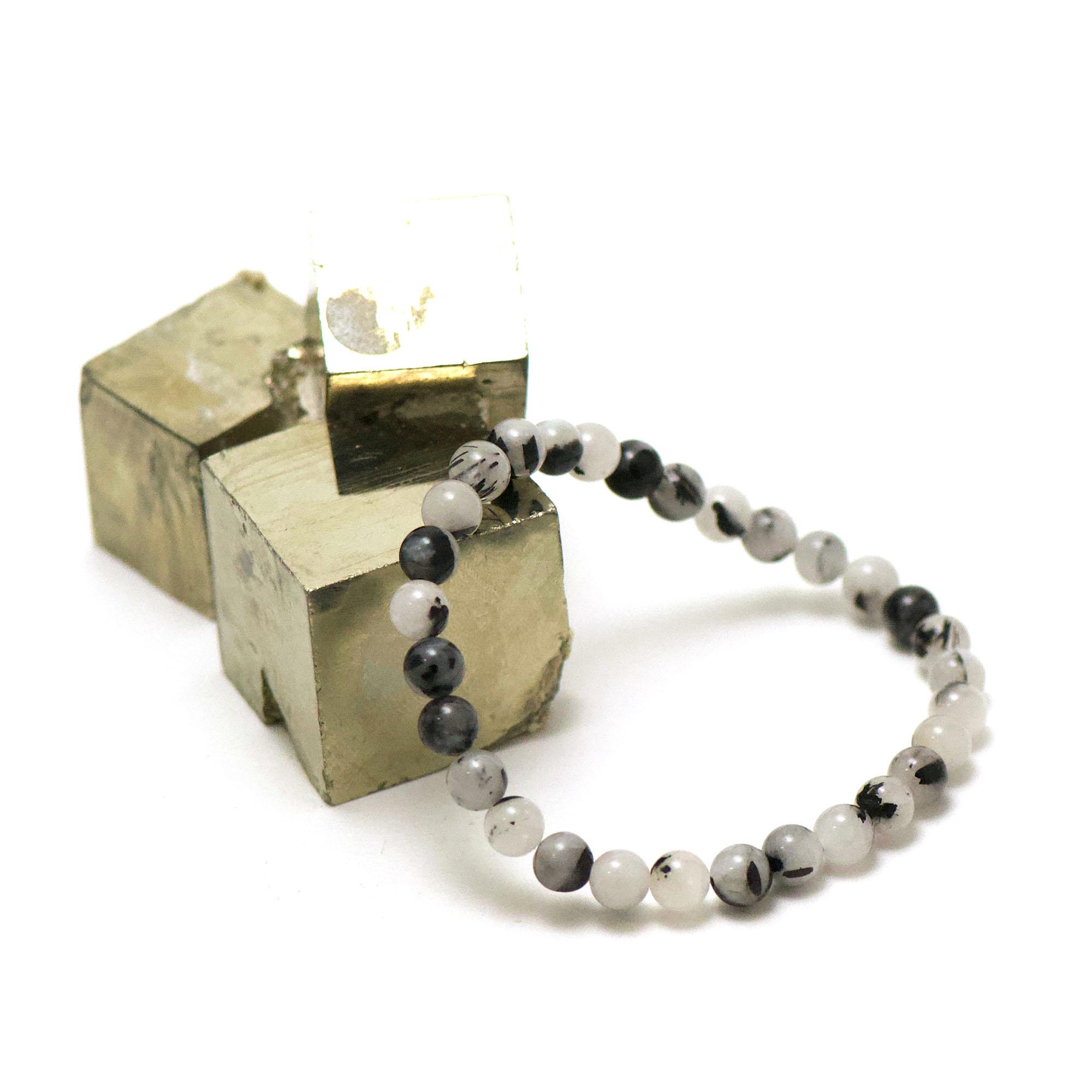 bracelet quartz tourmaline ronde 6 mm