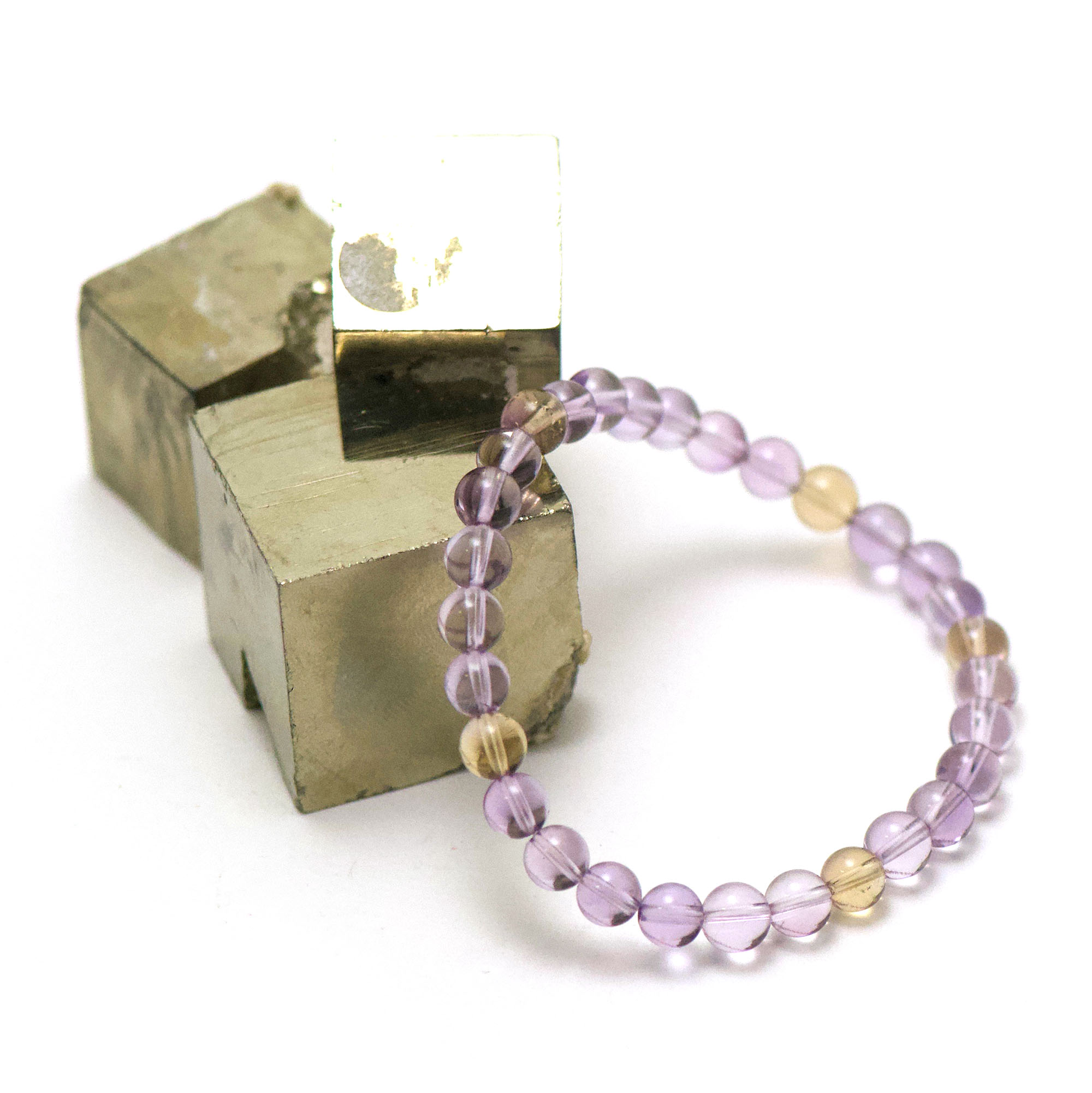 bracelet amétrine ronde 6 mm