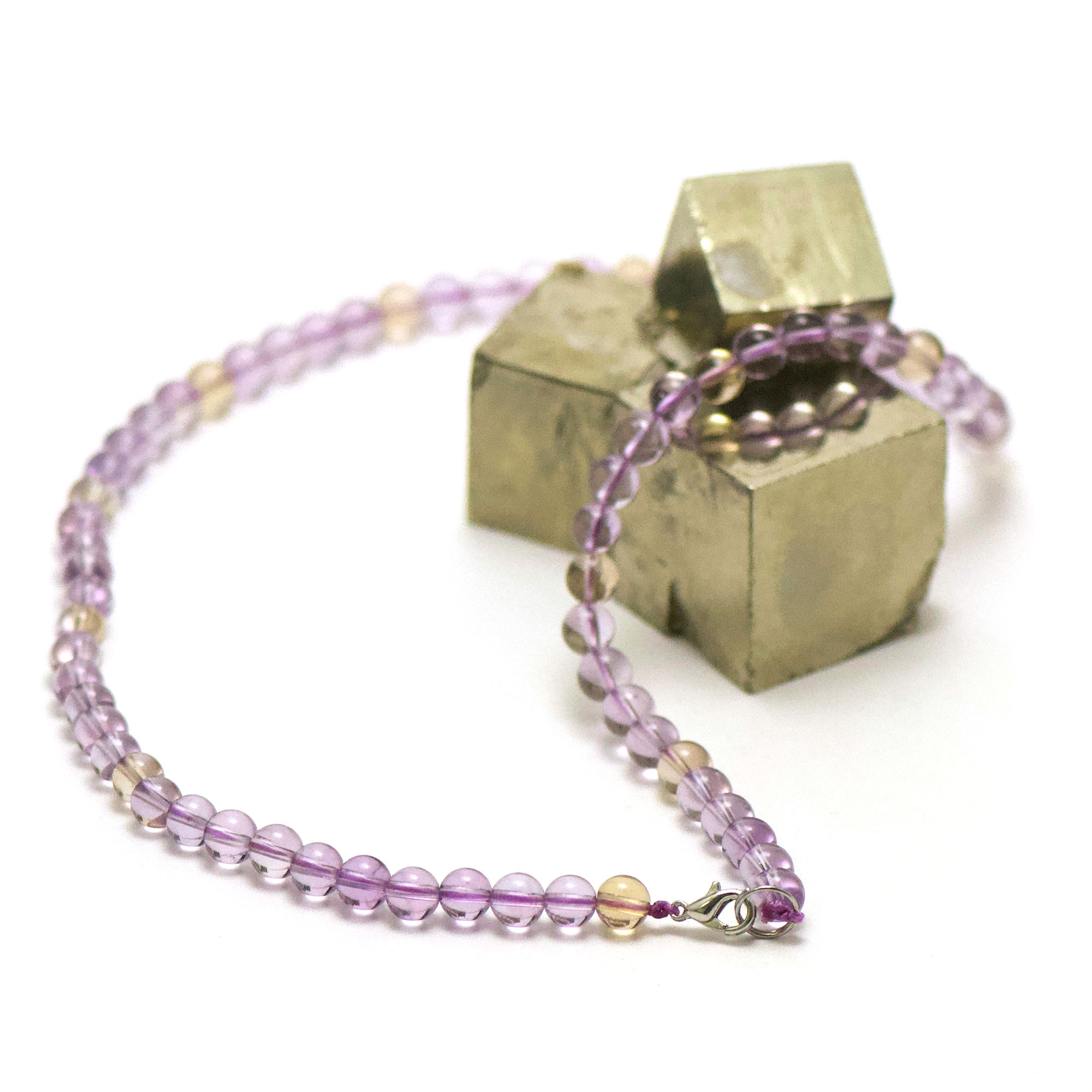 collier amétrine perle ronde 6 mm