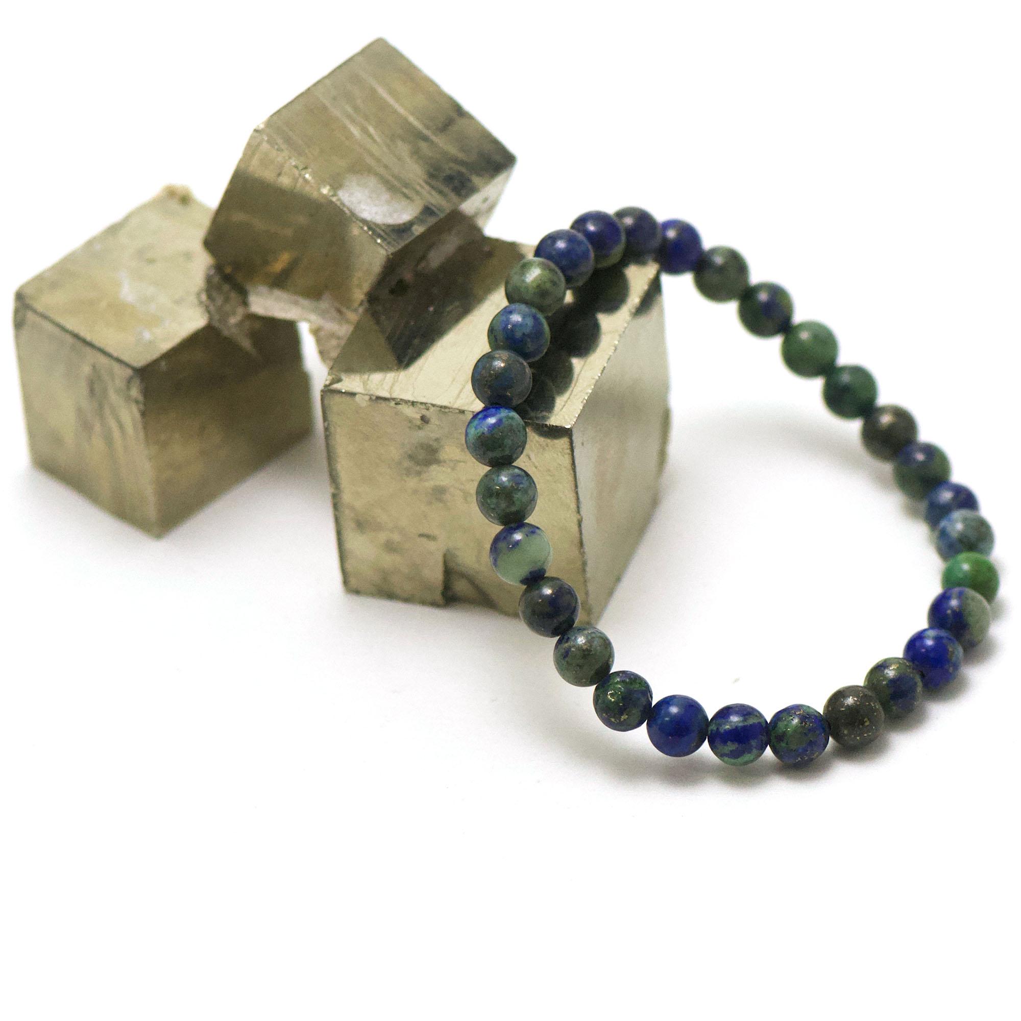 bracelet azurite-malachite ronde 6 mm