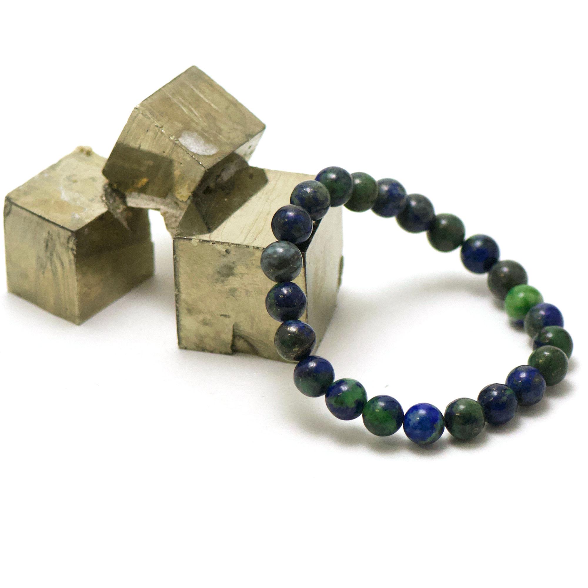 bracelet azurite-malachite ronde 8 mm