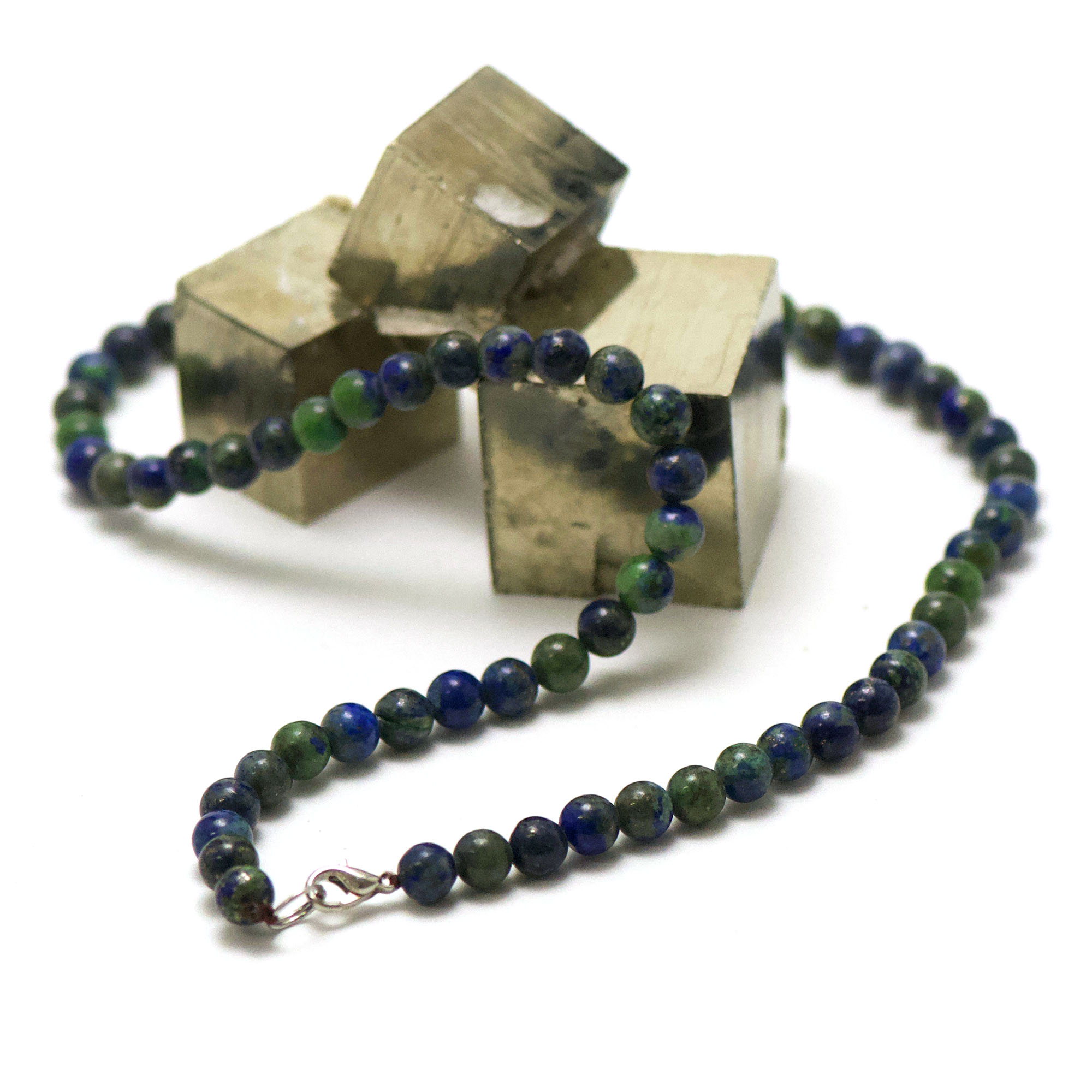 collier azurite-malachite perle ronde 6 mm