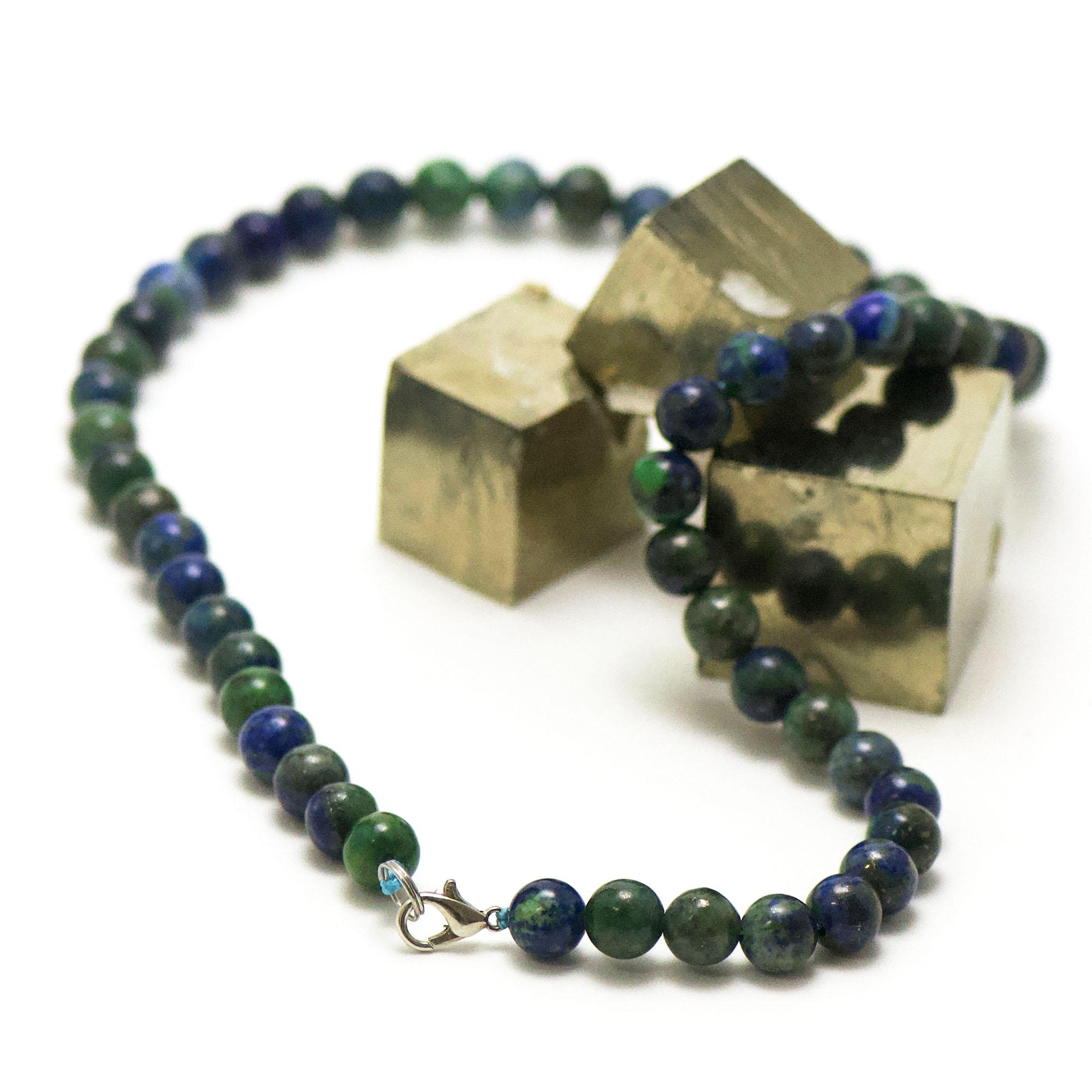collier azurite-malachite perle ronde 8 mm