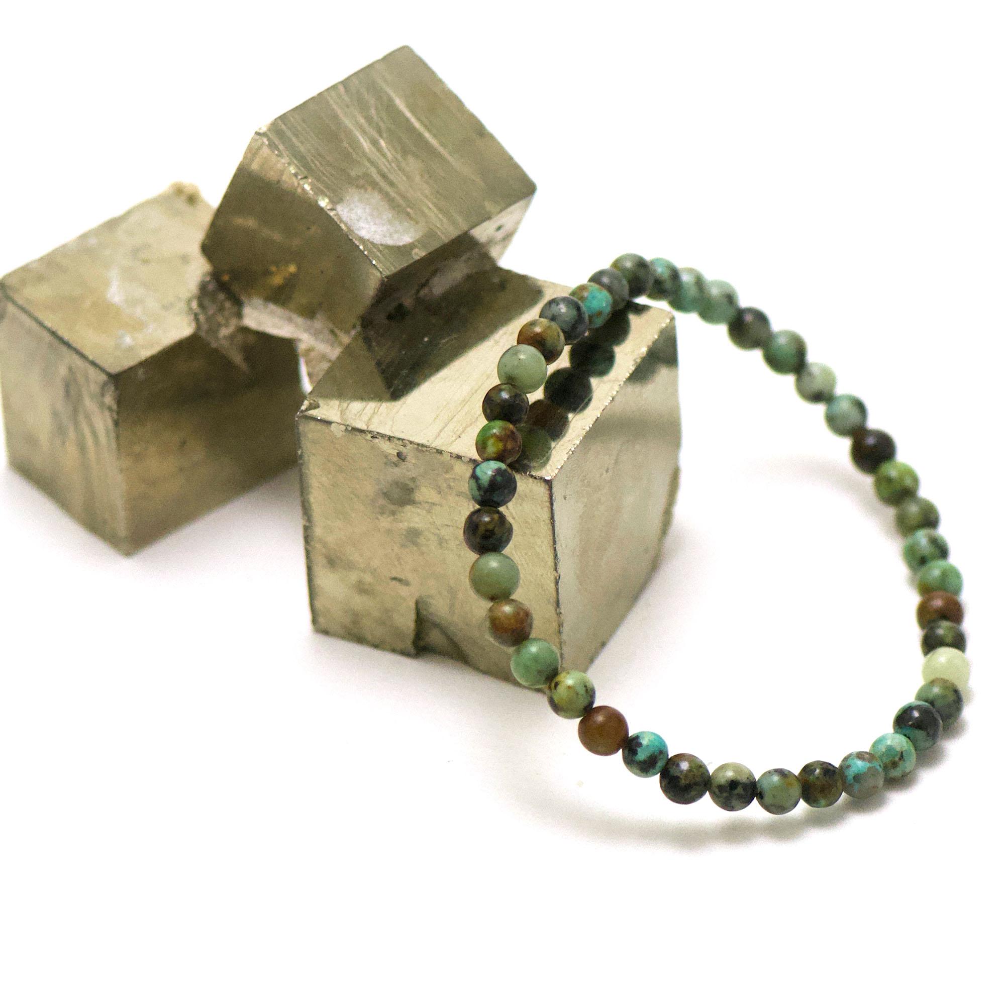 bracelet turquoise d\'afrique perle ronde 4 mm