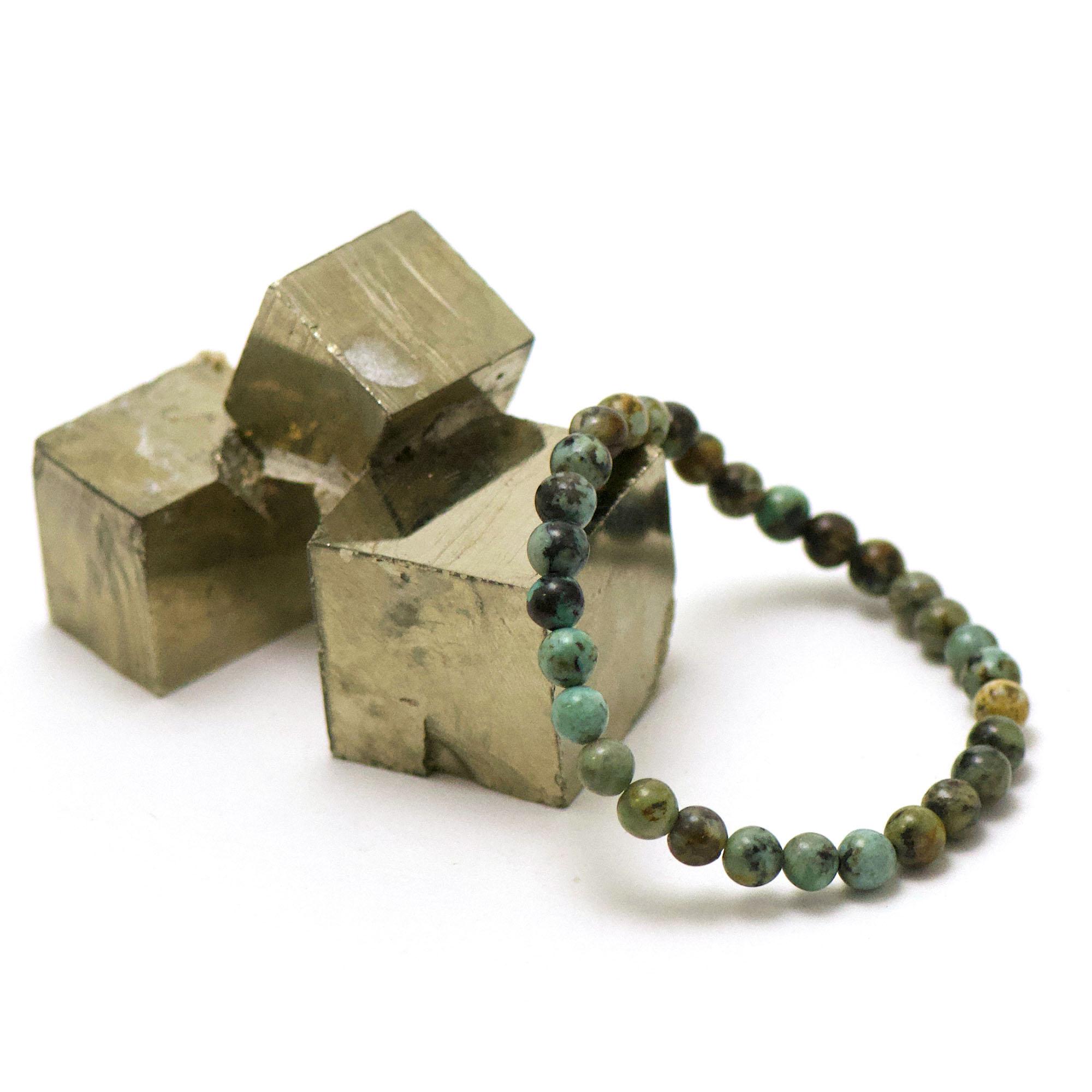 bracelet turquoise d\'afrique perle ronde 6 mm