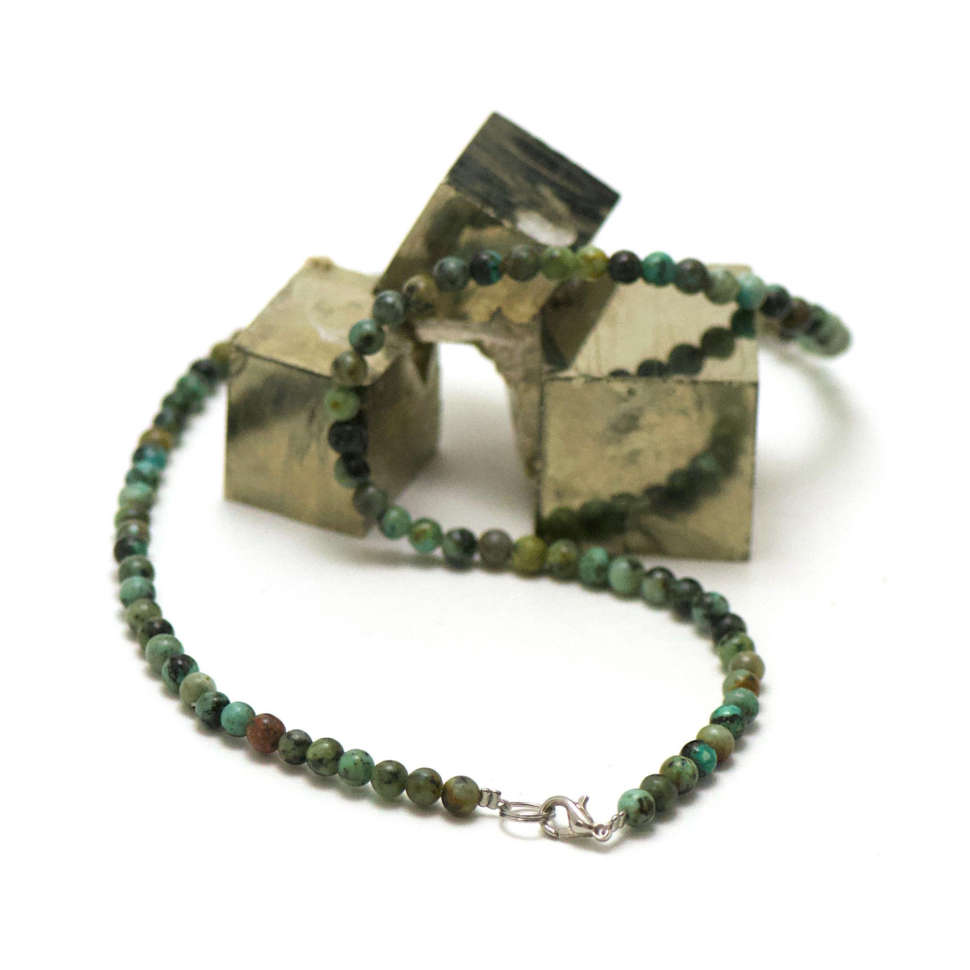 collier turquoise d\'afrique perle ronde 4 mm