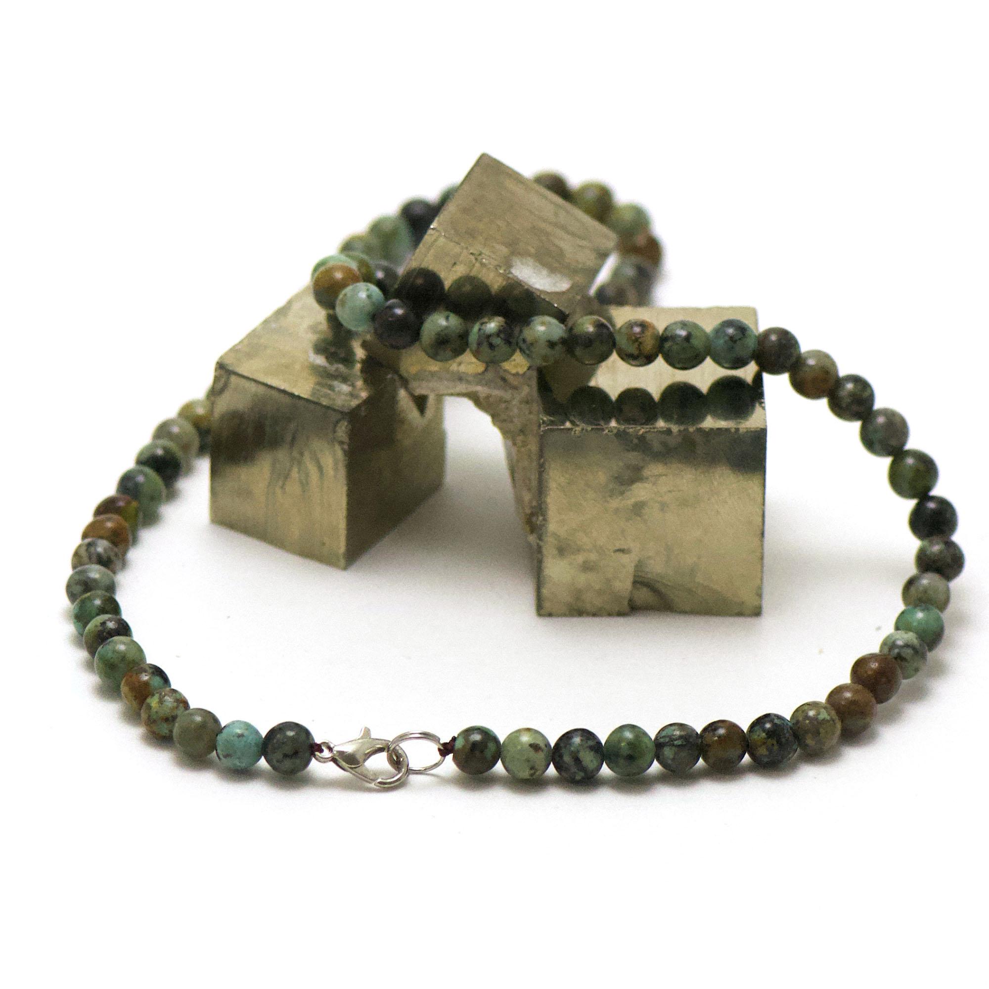 collier turquoise d\'afrique perle ronde 6 mm