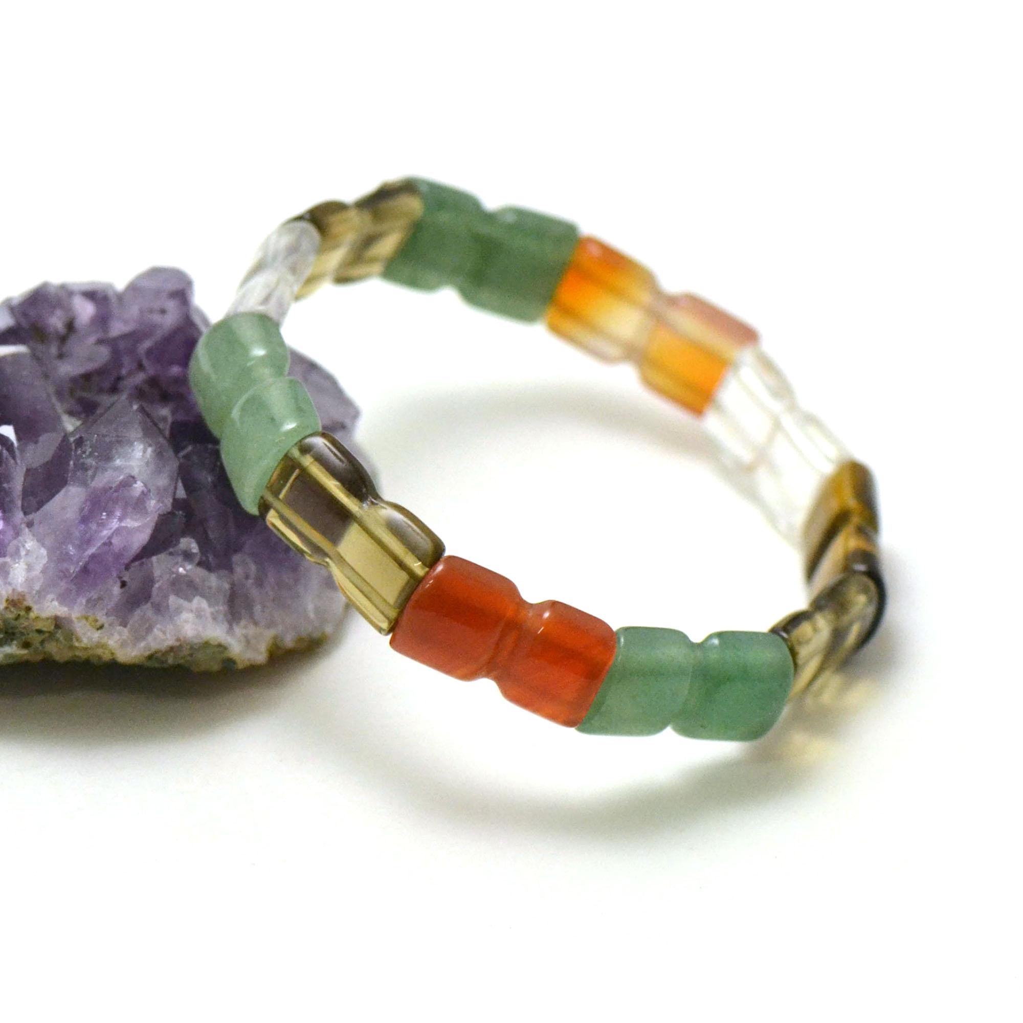 bracelet multi-pierre, plaquette double carrée