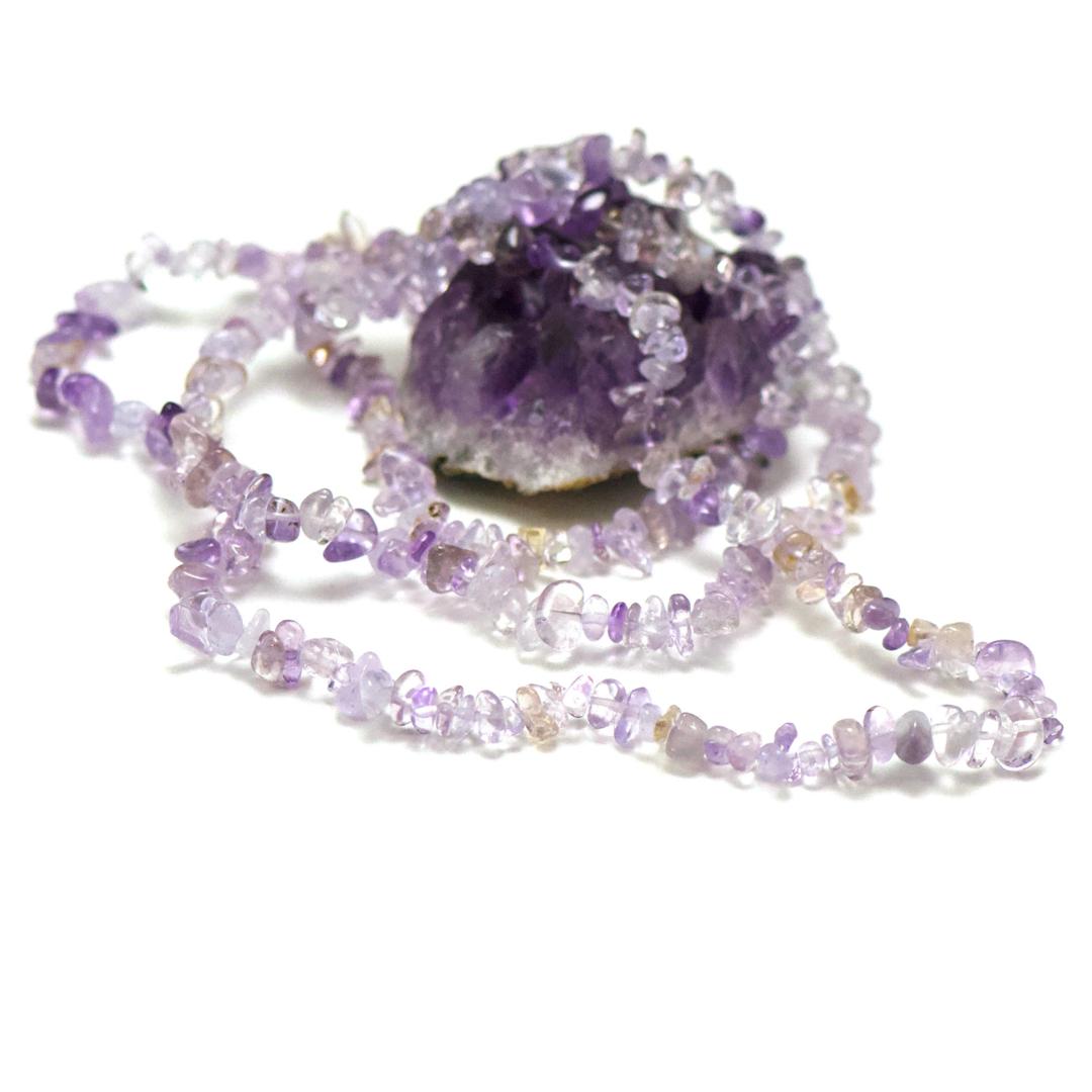 fil 84 cm env 440 perles d\'amétrine chips, pierre naturelle