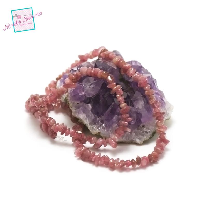 fil 40cm env 140 perles de tourmaline rose chips, pierre naturelle