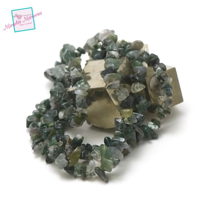 fil 84 cm env 440 perles d\'agate mousse chips,pierre naturelle