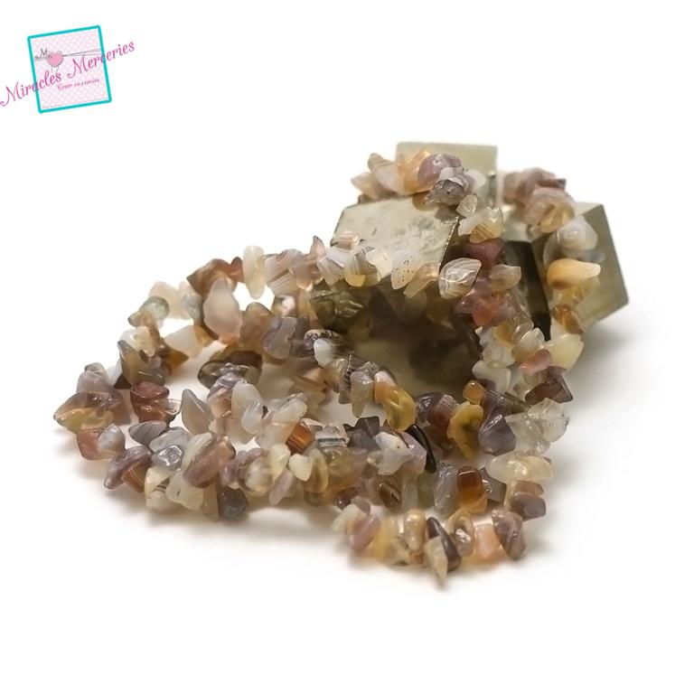 fil 84 cm env 440 perles d\'agate de botwana chips,pierre naturelle