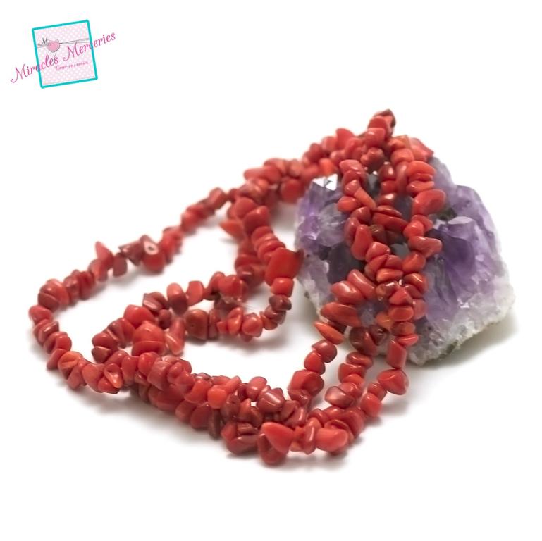 fil 84 cm env 440 perles de corail rouge chips,pierre naturelle