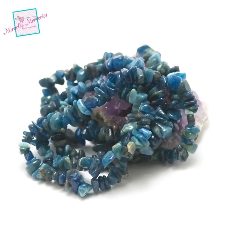 fil 84 cm env 440 perles d\'apatite chips, pierre naturelle