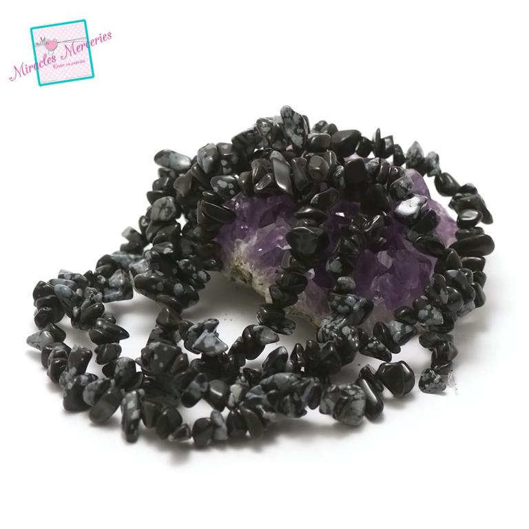 fil 84 cm env 440 perles d\'obsidienne flocon de neige chips,pierre naturelle
