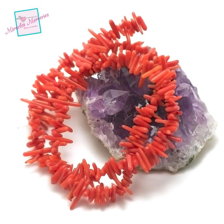 fil 40cm env 200 perles de corail/bambou de mermini bâton, pierre naturelle