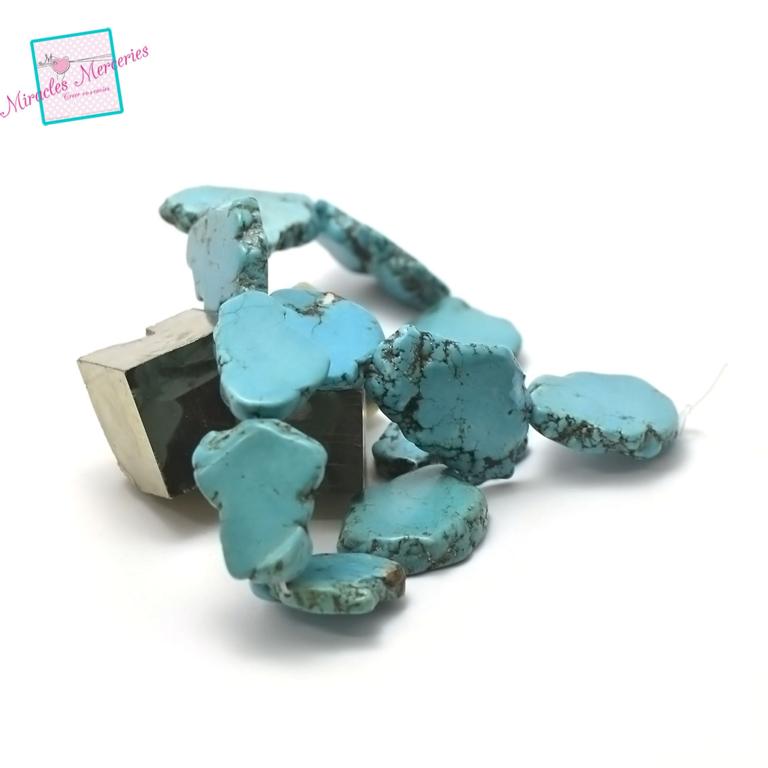 fil de 39 cm 12  perles de turquoise galet baroque plat 34x27x6 mm, pierre naturelle