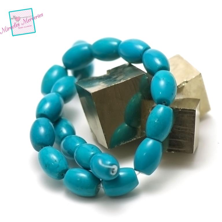 fil de 39 cm 24 perles de turquoise olive 16x12 mm,pierre naturelle