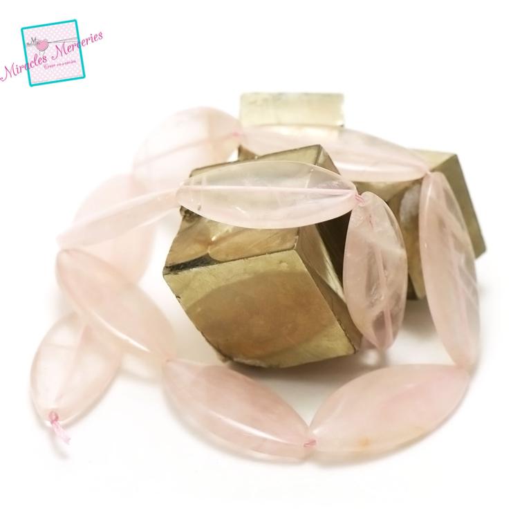 fil 39 cm 12 perles de quartz rose palet oval 37x16x4 mm, pierre naturelle
