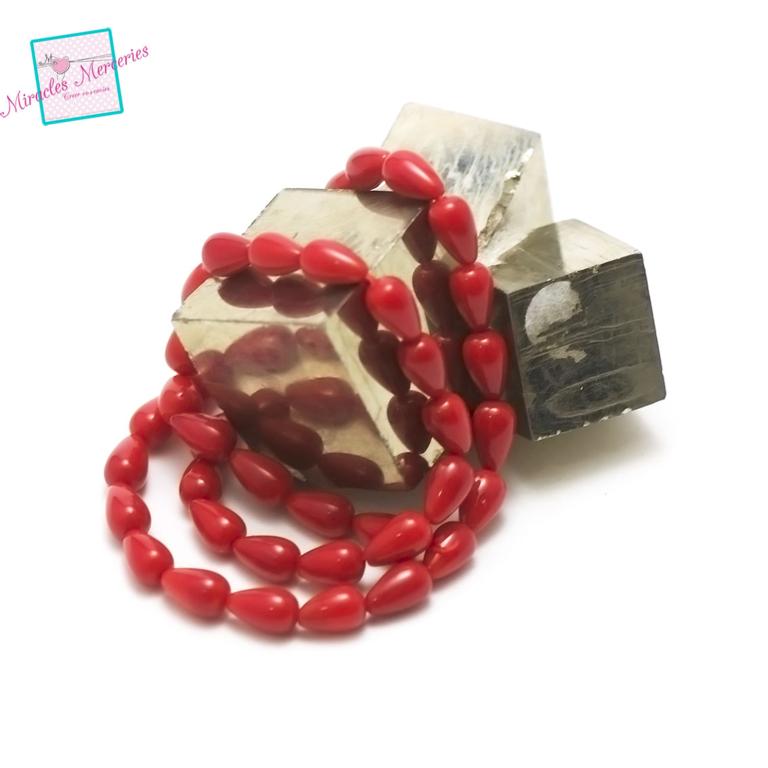 fil 39 cm env 43 perles de corail/bambou de mergoutte d\'eau 9x6 mm, pierre naturelle