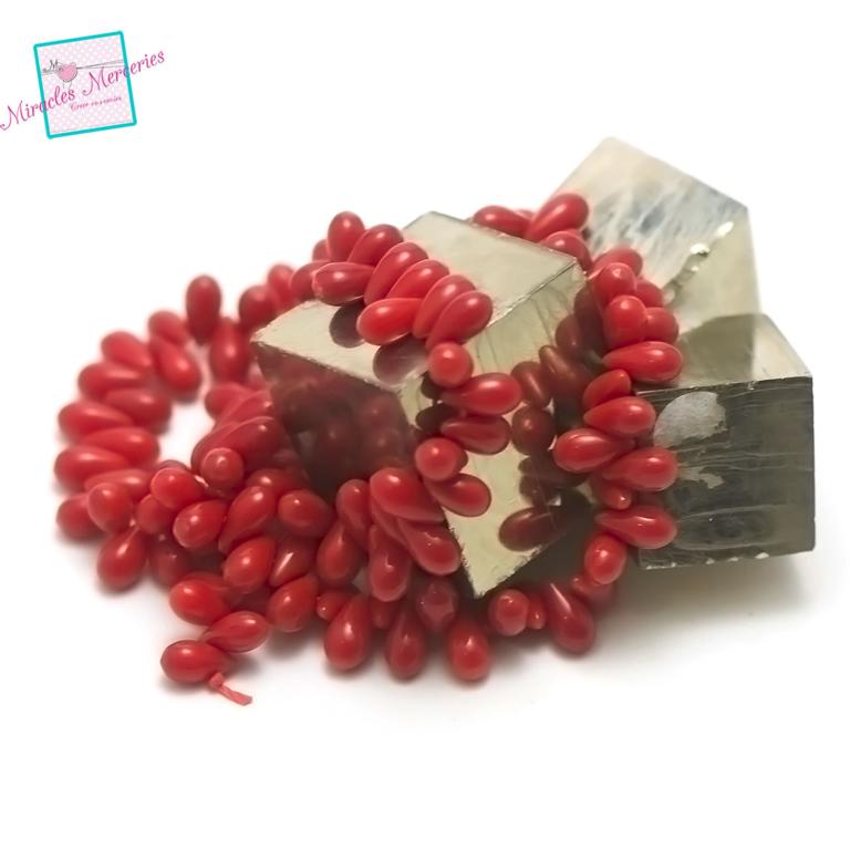 fil 39 cm env 120 perles de corail/bambou de mergoutte d\'eau horizontal 8x4 mm, pierre naturelle