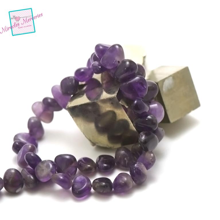 fil 39cm 50 perles d\'améthyste galet baroque 13x7x6 mm, pierre naturelle