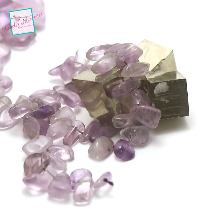 fil 39cm 50 perles d\'améthyste clair palet baroque 19x9x8 mm, pierre naturelle