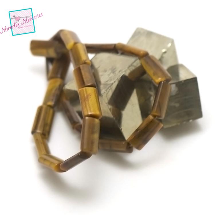fil de 39 cm 24 perles de oeil de tigre rectangle bombé16x8x4 mm, pierre naturelle