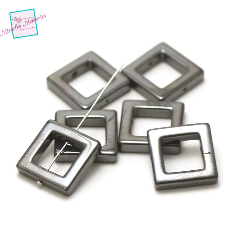 6 perles d\'hématite carrée 24x24x5 mm, pierre naturelle