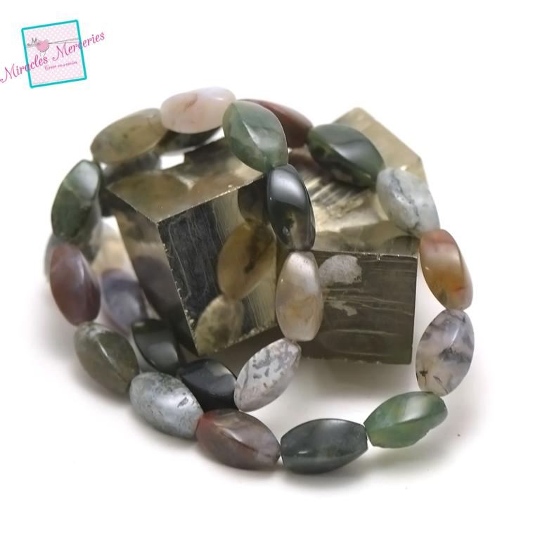 fil de 39 cm 25 perles d\'agate indien olive torsadée 15x8 mm,pierre naturelle