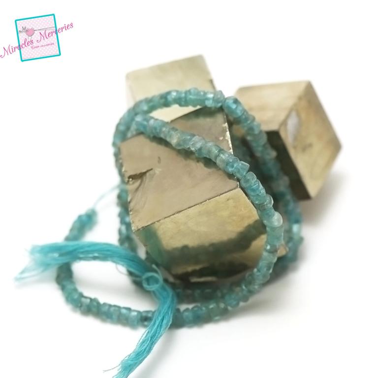 fil 39cm 80 perles de fluorite vert rondelle 4x2 mm, pierre naturelle