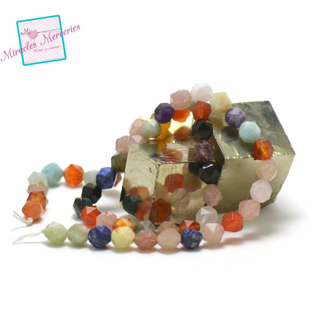 fil 39cm 51 perles de multi-pierre octogonal 8x7 mm, pierre naturelle
