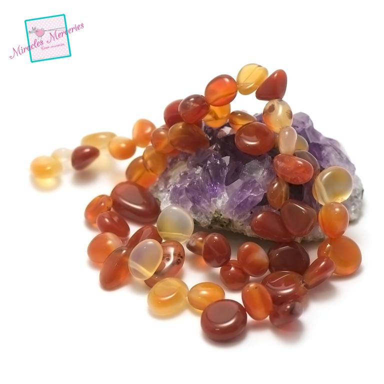 fil 39 cm env 55 perles cornalinegrand chips ,en pierre naturelle