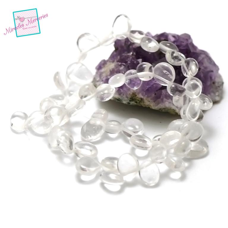fil 39 cm env 55 perles cristal de rochegrand chips ,en pierre naturelle