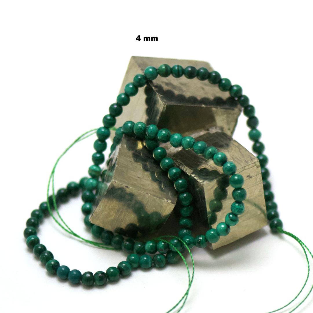 fil de 39 cm 88 perles de malachite ronde 4 mm