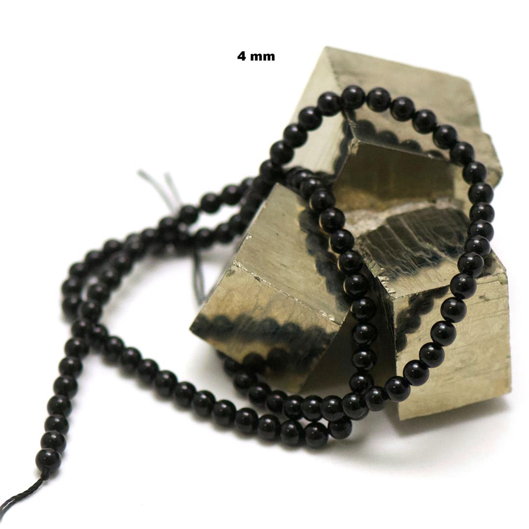 fil de 39 cm 88 perles de tourmaline noir ronde 4 mm