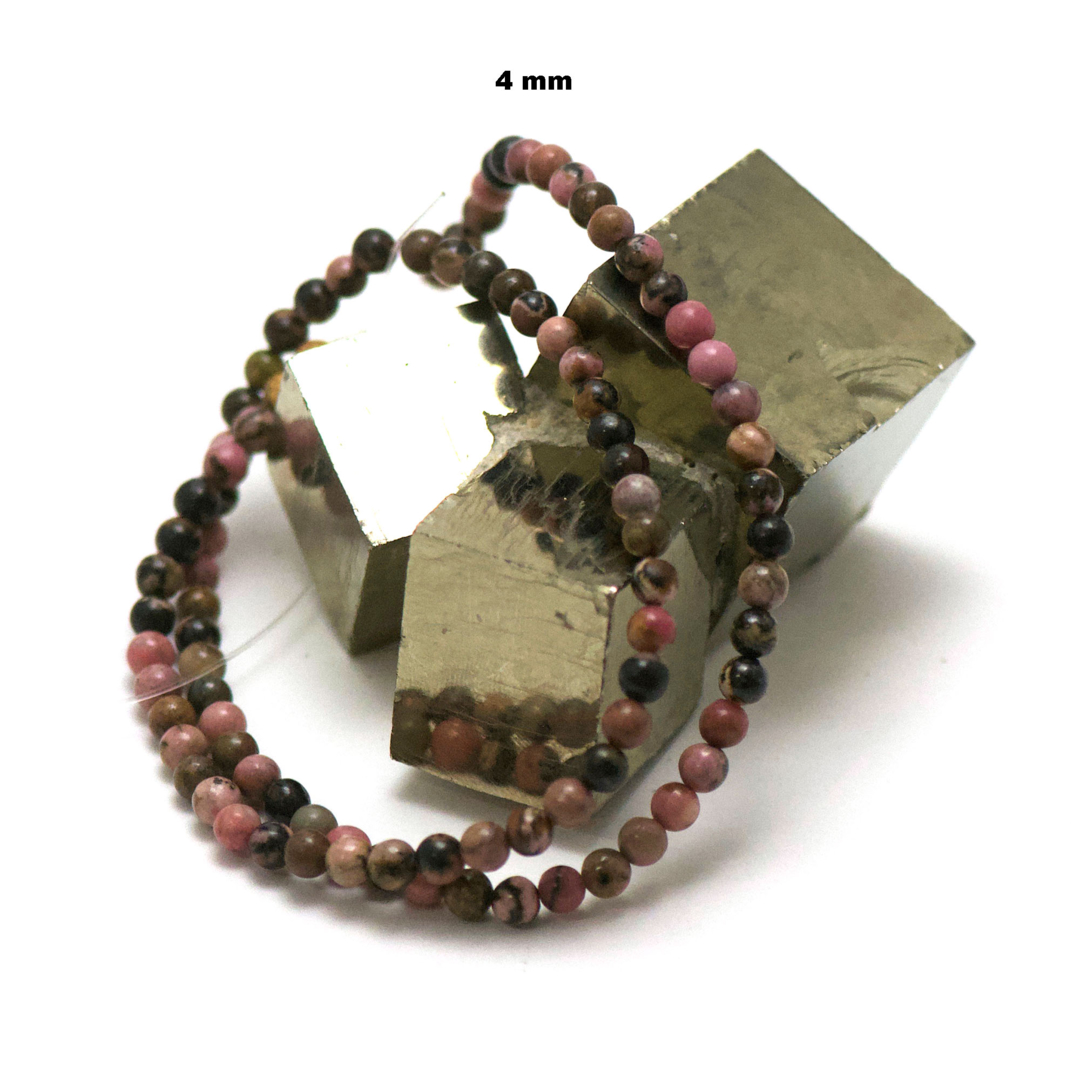 fil de 39 cm 88 perles de rhodonite de Madagascar ronde 4 mm