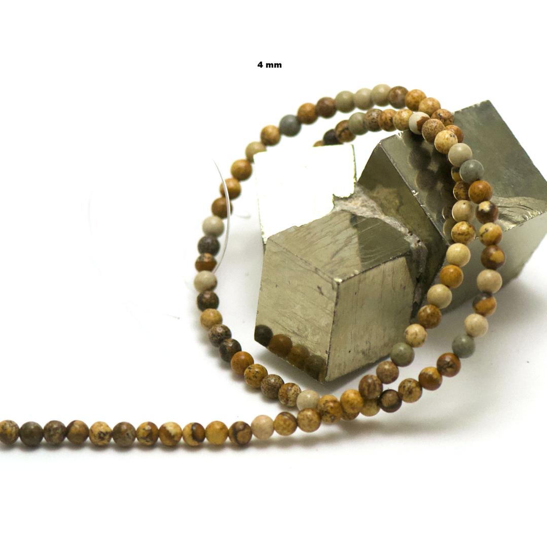 fil de 39 cm 88 perles de jaspe paysage ronde 4 mm