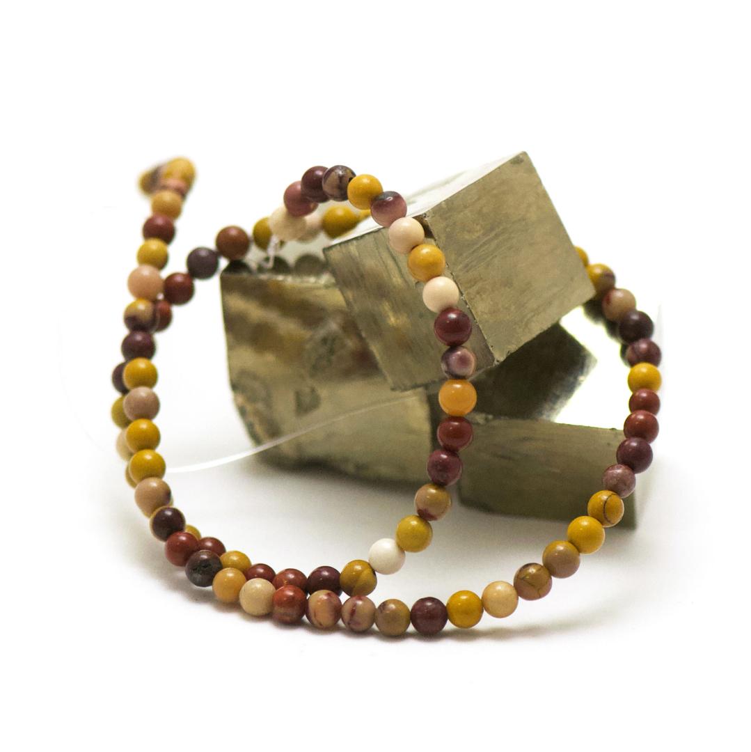 fil 39cm 88 perles de jaspe mokaïte ronde 4 mm, pierre naturelle