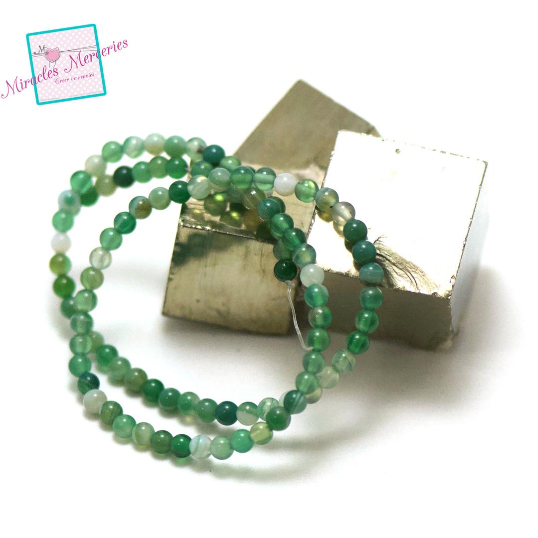 fil de 39 cm perles d\'agate vert ronde 4 mm, pierre naturelle