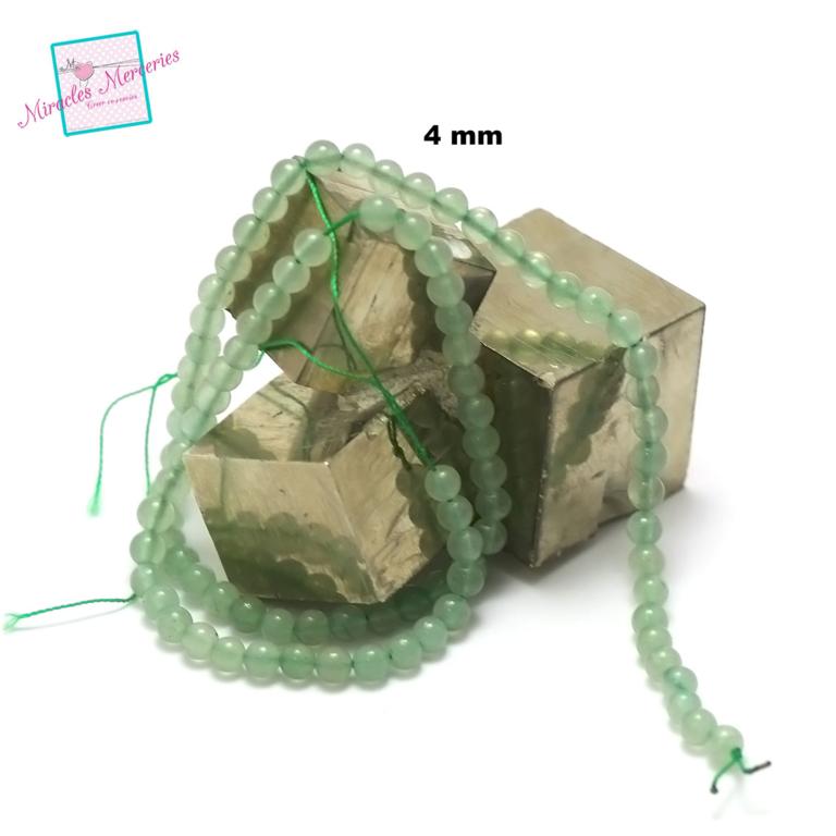 fil de 39 cm perles d\'aventurine ronde 4 mm