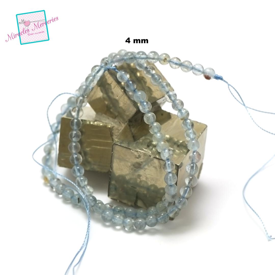 fil de 39 cm perles d\'aigue marine ronde 4 mm