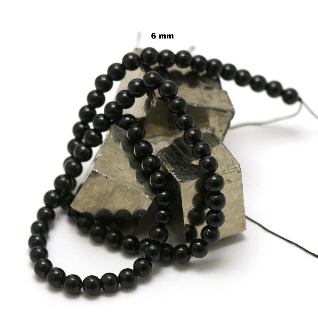fil de 39 cm 63 perles de tourmaline noir ronde 6 mm