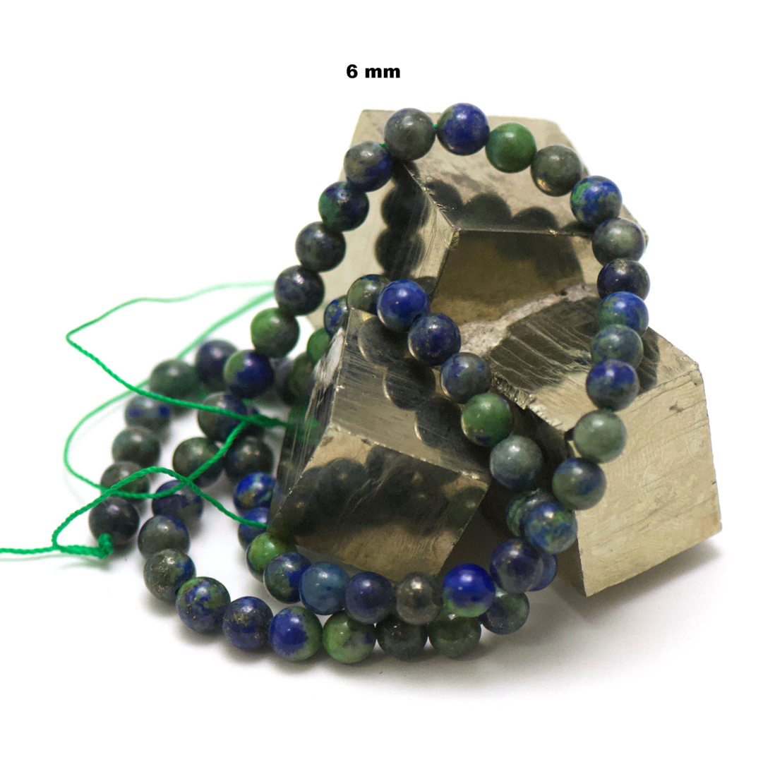 fil de 39 cm 63 perles d\'azurite-malachite ronde 6 mm