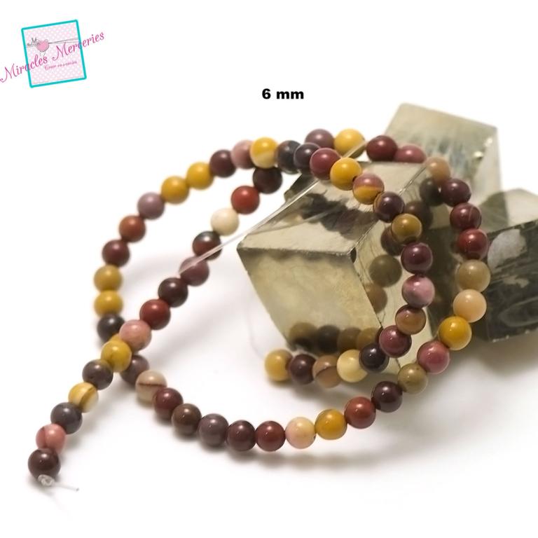fil 39cm 63 perles de jaspe mokaïte ronde 6 mm, pierre naturelle